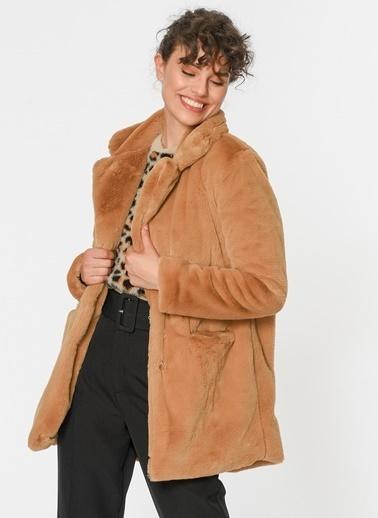 Loves You Kanguru Cep Astarlı Peluş Kaban Camel